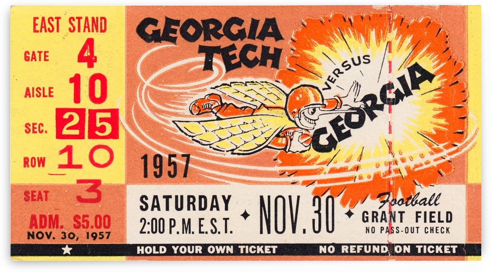 College_FootballArt_GeorgiaTechvs.Georgia_GrantField_TicketStubArt by Row One Brand