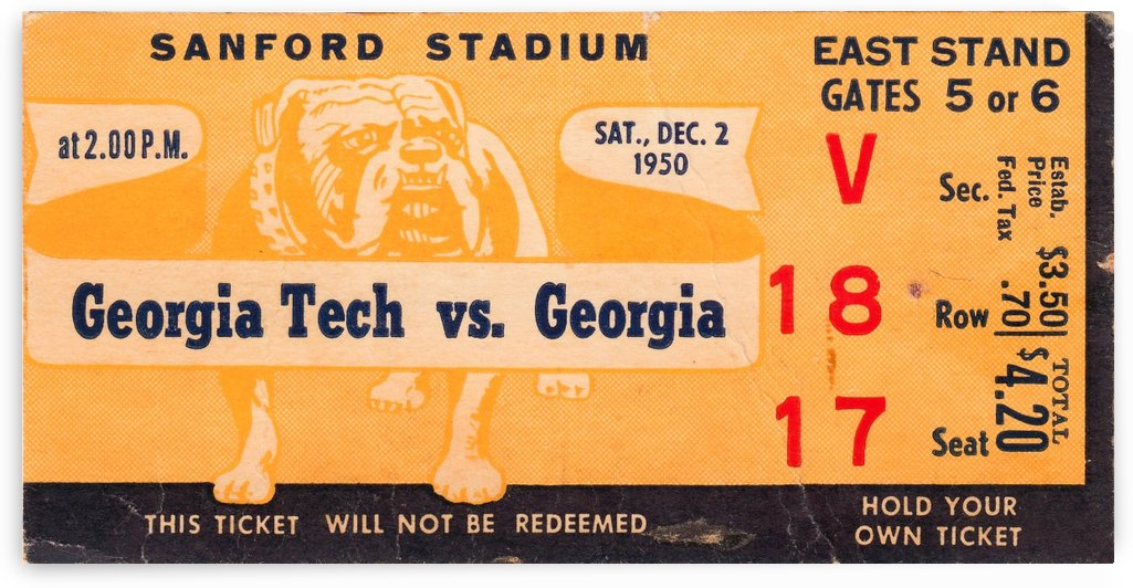 1950_College_Football_Georgiavs.GeorgiaTech_SanfordStadium_SportsTicketPoster by Row One Brand
