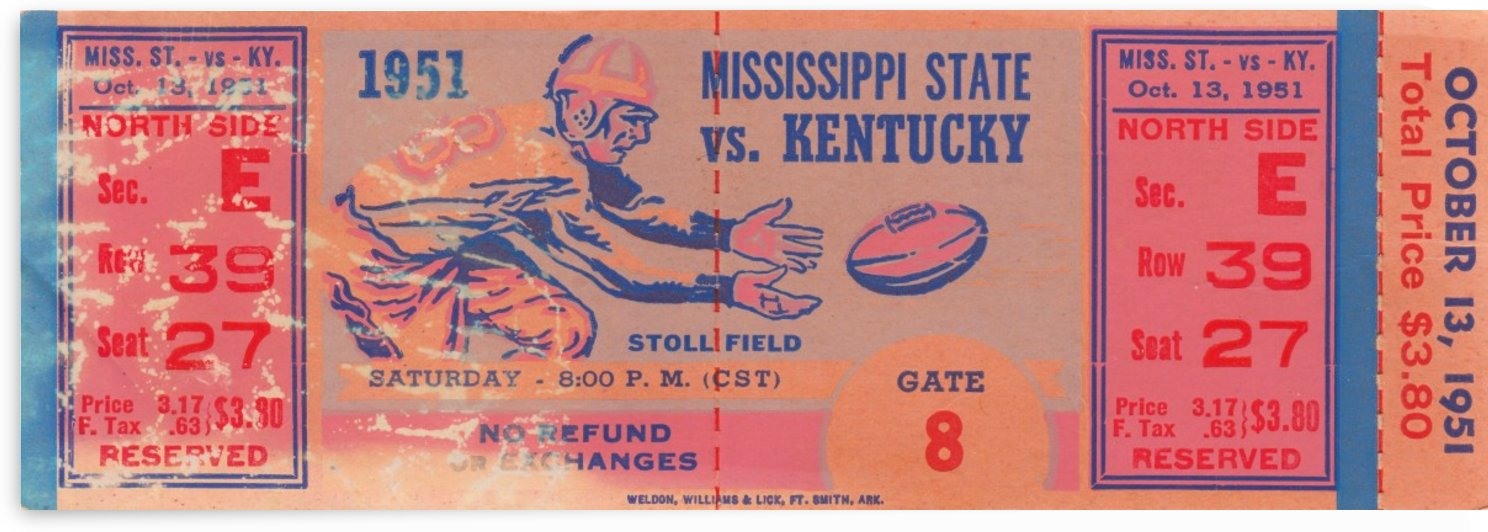 1951_College_Football_Kentuckyvs.MississippiState_StollField_Full_Ticket_Stubs_Untorn by Row One Brand