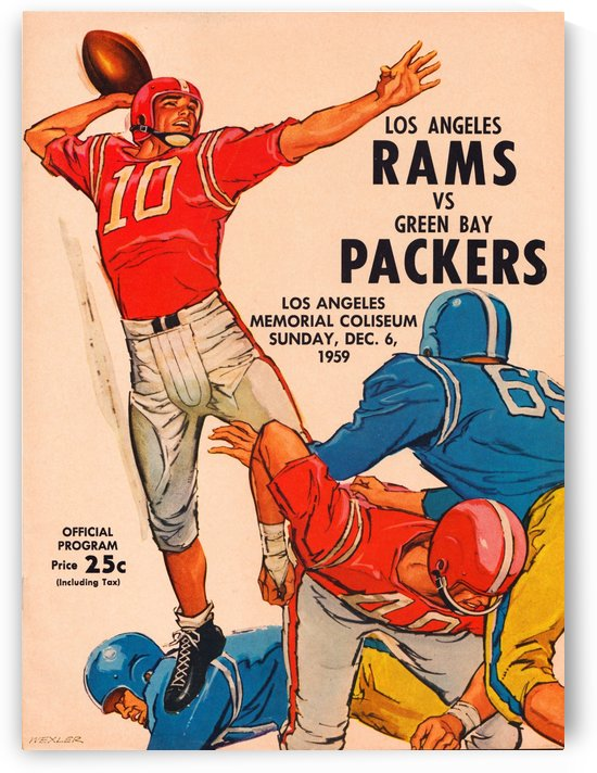 1959LosAngelesRamsvs.GreenBayPackersProgramCoverArtReproduction by Row One Brand