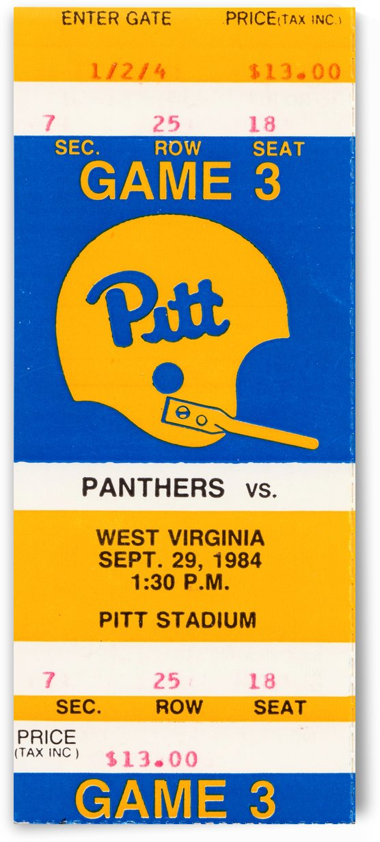 1984PittsburghPanthersRetroFootballHelmetTicketStubVintageArtRowOneBrand by Row One Brand