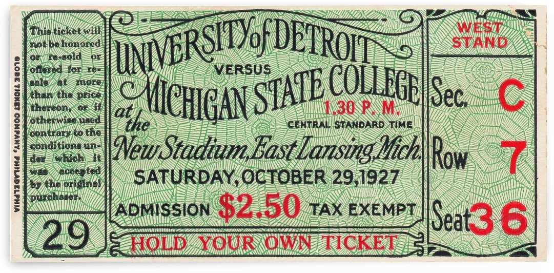 1927 Detroit vs. Michigan State by Row One Brand