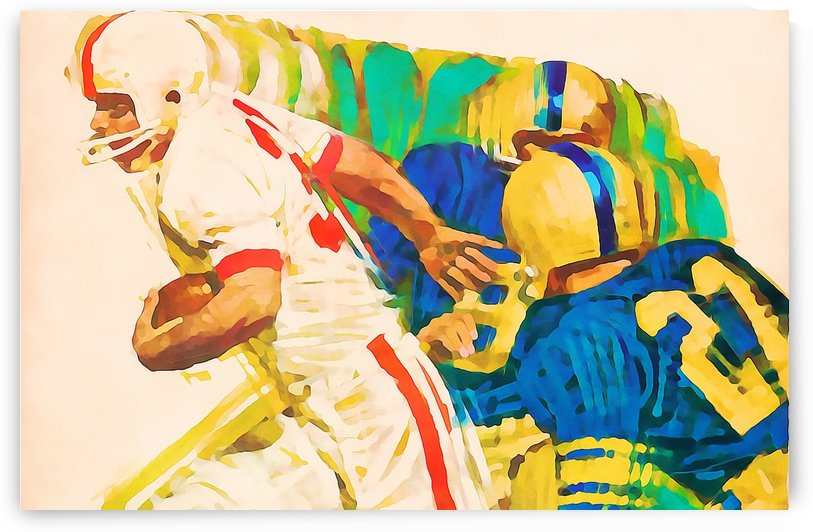 american football artwork watercolor painting by Row One Brand