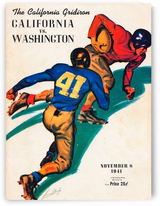 1941 cal bears washington huskies college football program art poster metal sign prints on wood by Row One Brand
