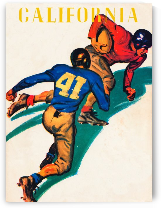 vintage cal bears football poster 1941 metal sign print wood canvas art retro remix sports artwork by Row One Brand