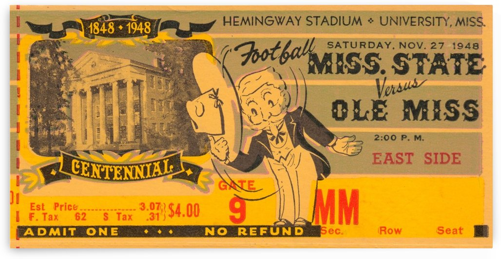 university mississippi football ticket stub metal sign wood print poster art ticket stub collection by Row One Brand