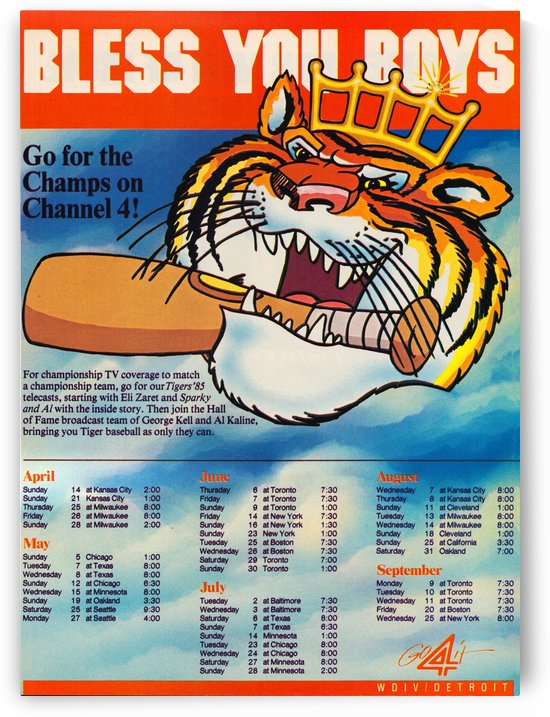 1985 detroit tigers bless you boys channel 4 wvid detroit michigan television tv ad poster metal art by Row One Brand