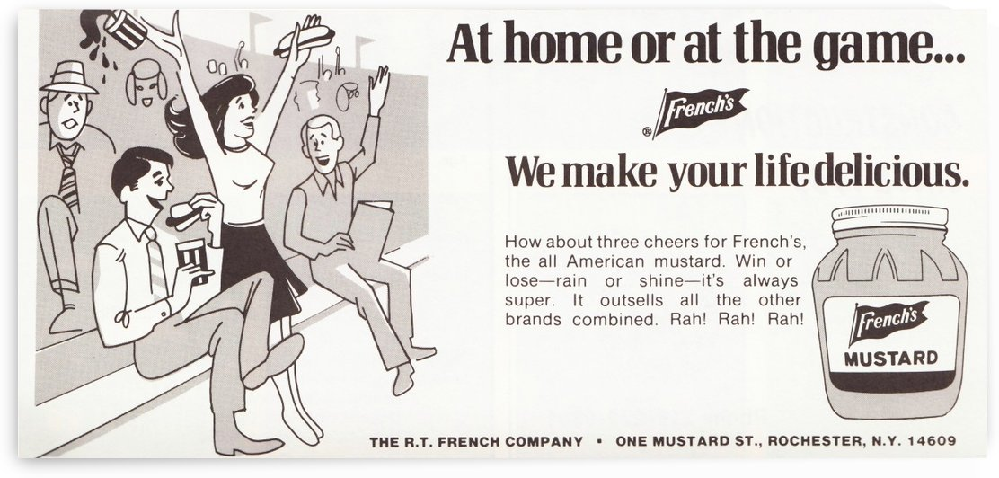 vintage frenchs mustard ad retro food advertisements poster print metal sign wood art by Row One Brand