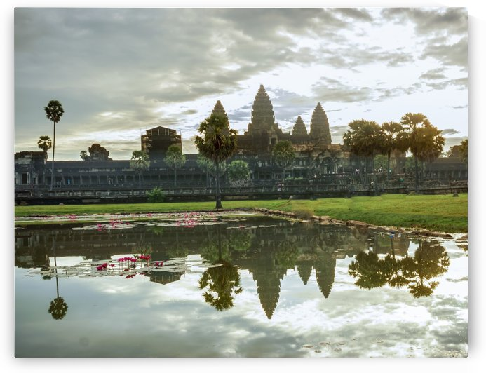 Reflection of Angkor Wat temple Cambodia by RezieMart