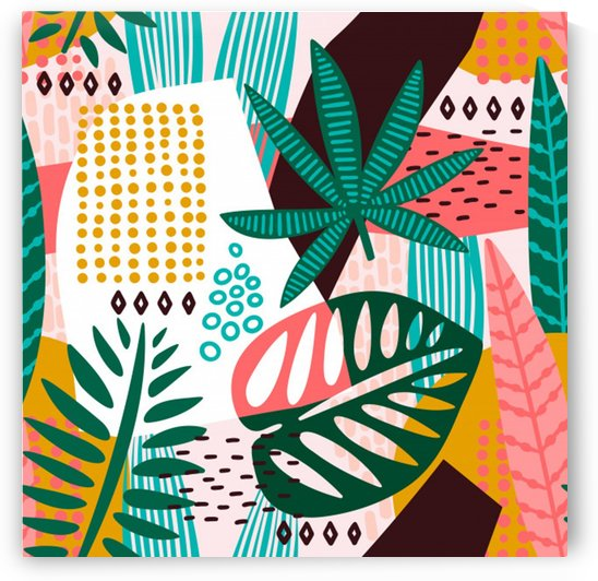 abstract seamless pattern with tropical leaves by Shamudy
