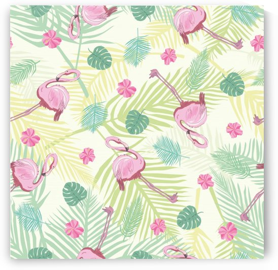 beautiful seamless vector tropical pattern background with flamingo hibiscus by Shamudy