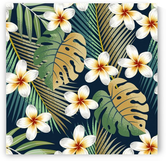 seamless pattern with tropical strelitzia flowers leaves exotic background_ by Shamudy