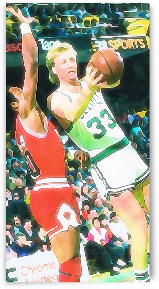boston celtics larry bird poster print metal sign russian birch wood custom art framed sports art by Row One Brand