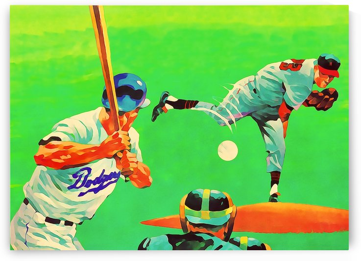 la dodgers wall decor painting retro sports art poster prints metal wall art custom made birch wood by Row One Brand