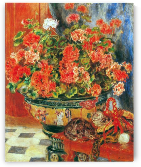 Geraniums and cats by Renoir by Renoir