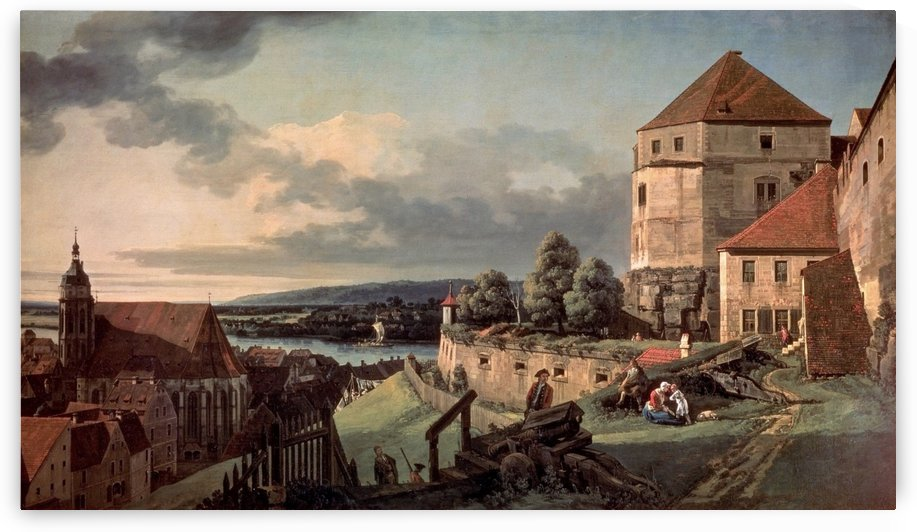 Landscape with castle and river by Bernardo Bellotto