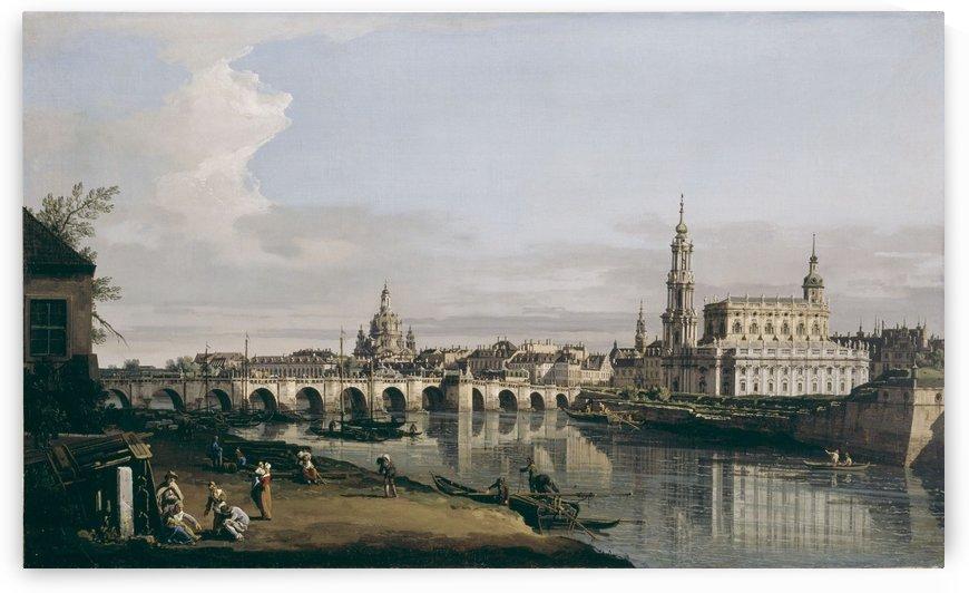 Dresden vom rechten Elbufer unterhalb der Augustusbrucke by Bernardo Bellotto