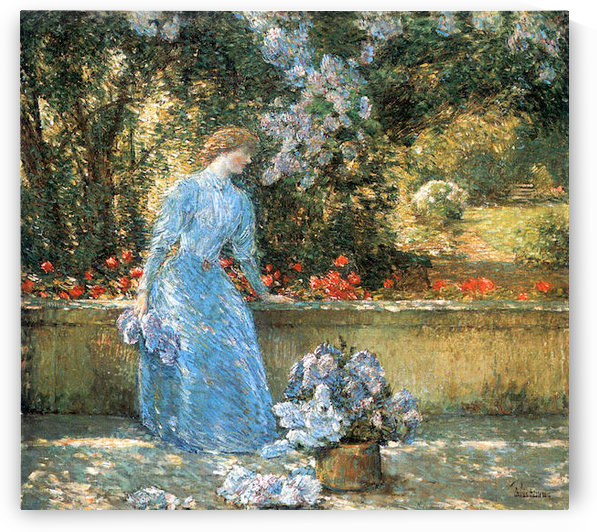Woman in park by Hassam by Hassam