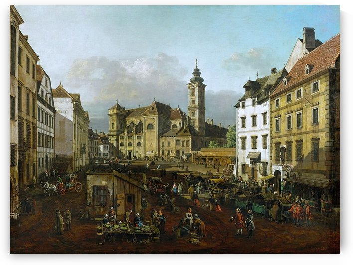 Market outside church by Bernardo Bellotto