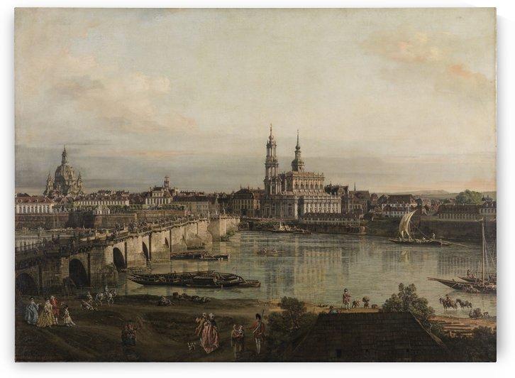 Dresden, die Altstadt Dresdens vom Neustadter Bruckenkopf by Bernardo Bellotto