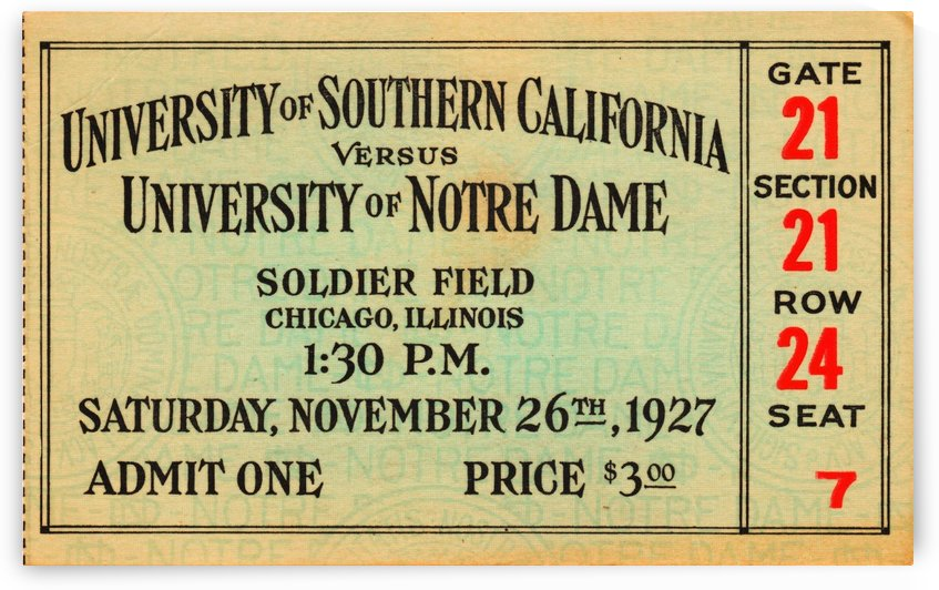 1927 USC vs. Notre Dame by Row One Brand