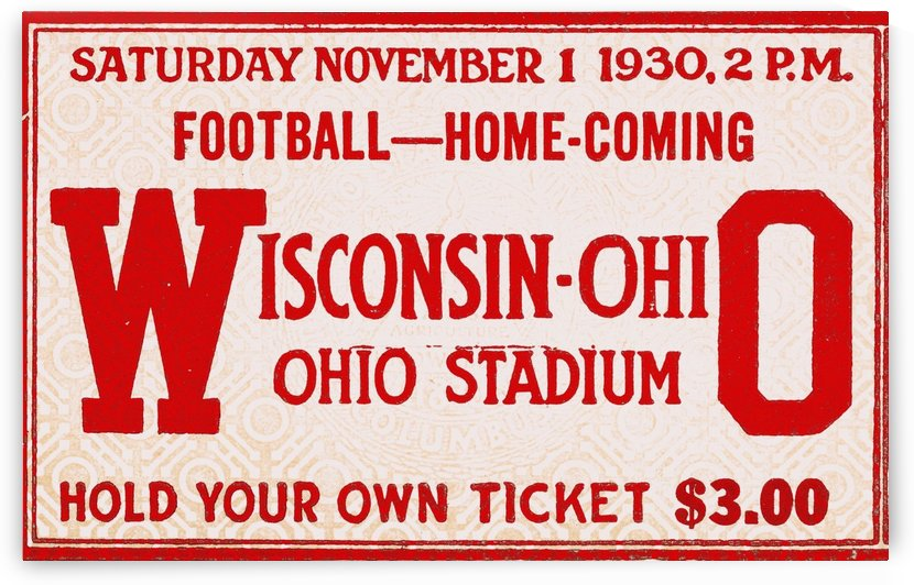 retro remix sports art ticket stub metal sign osu buckeyes football vintage tickets wood prints by Row One Brand