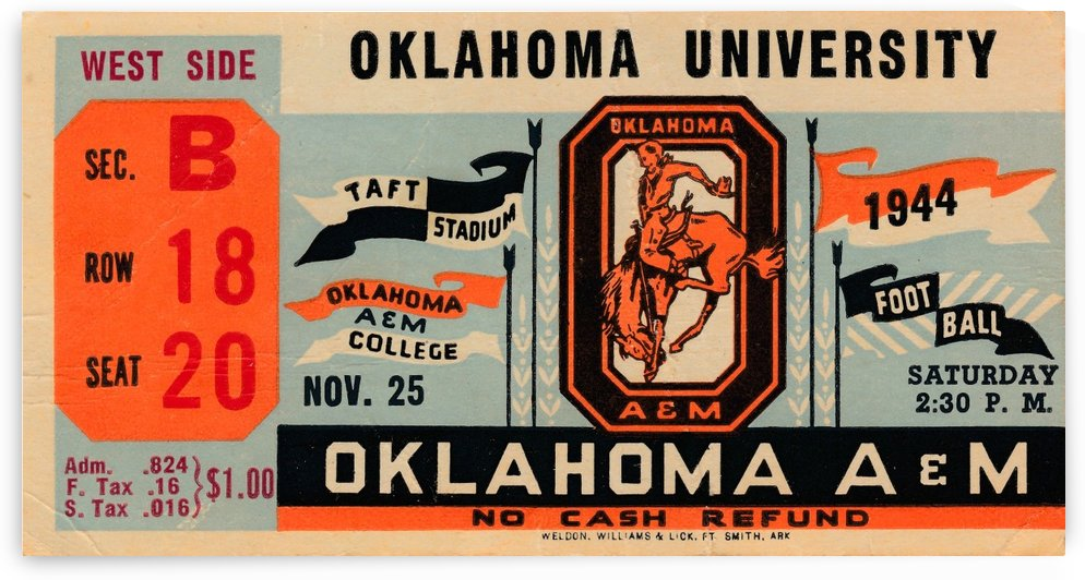 1944 oklahoma sooners osu cowboys ticket stub metal sign college football tickets wood prints art r1 by Row One Brand