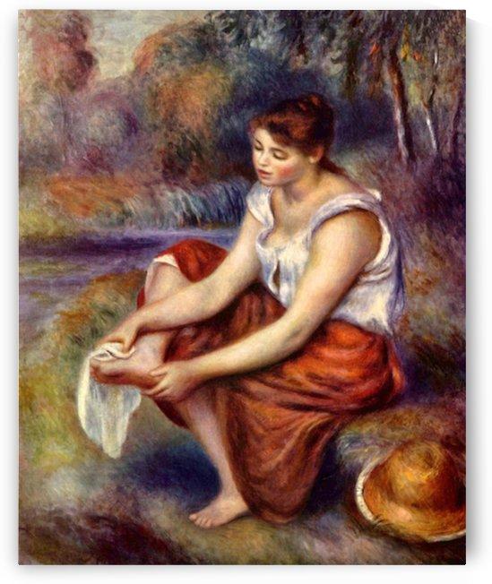 Girl dryes her feet by Renoir by Renoir