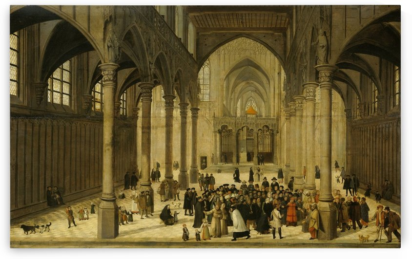Church interior with Christ preaching to a crowd by Cornelis Van Dalem