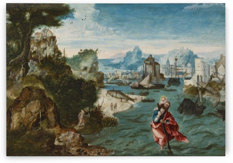 Landschap met Sint Christoffel by Cornelis Van Dalem