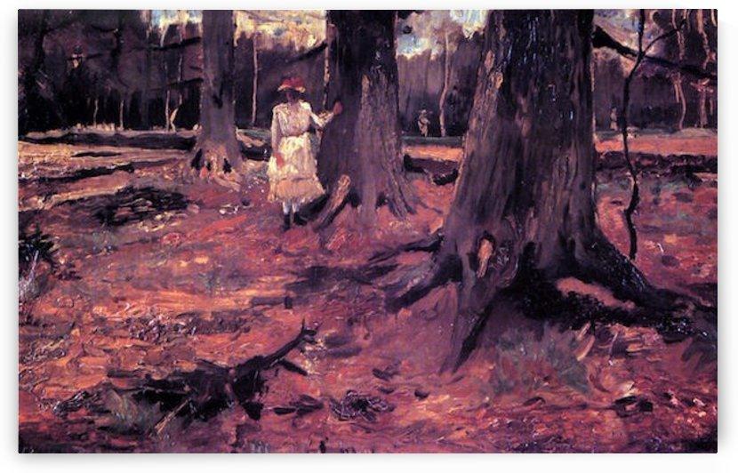 Girl in White in the Woods by Van Gogh by Van Gogh