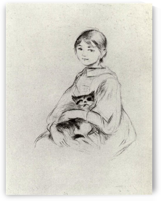 Girl with a Cat by Morisot by Morisot