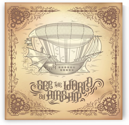 Vector steampunk poster illustration fantastic wooden flying ship by Shamudy