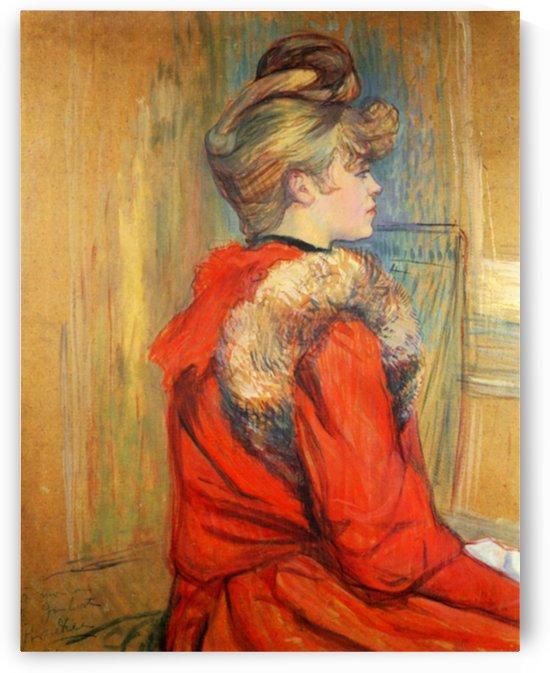 Girl with fur, Study for the Moulin de la Galette by Toulouse-Lautrec by Toulouse-Lautrec