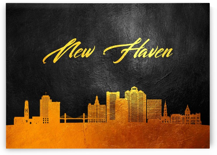 New Haven Connecticut Skyline Wall Art by ABConcepts