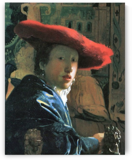 Girl with red hat by Vermeer by Vermeer