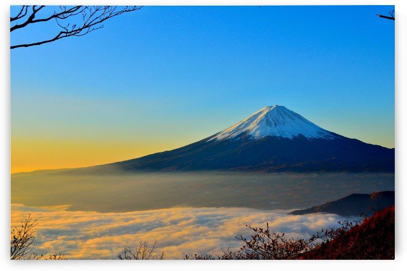 fuji volcano foggy mountain by Shamudy