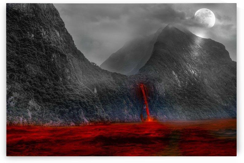 volcanic lake volcano larva flow by Shamudy
