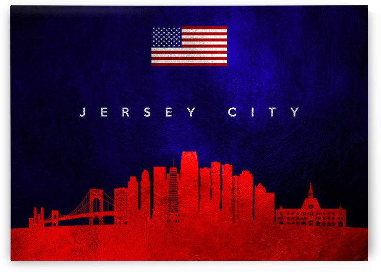 Jersey City New Jersey Skyline Wall Art by ABConcepts