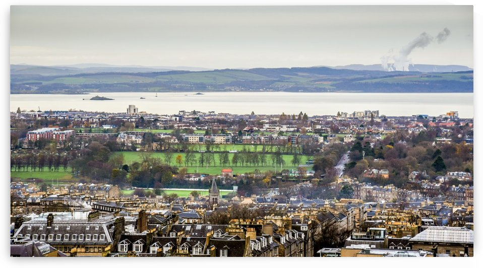 High angle view of townscape by the city of Edinburgh Scotland by RezieMart