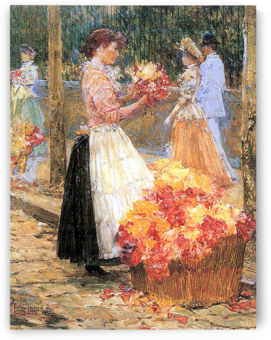 Woman sells flowers by Hassam by Hassam