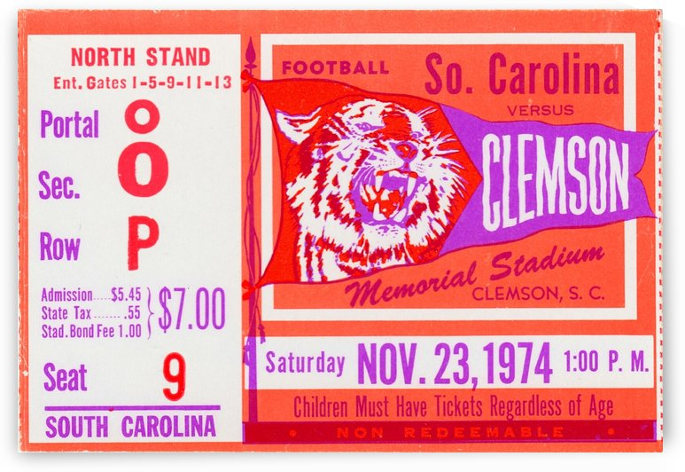 1974 Clemson Tigers Football by Row One Brand