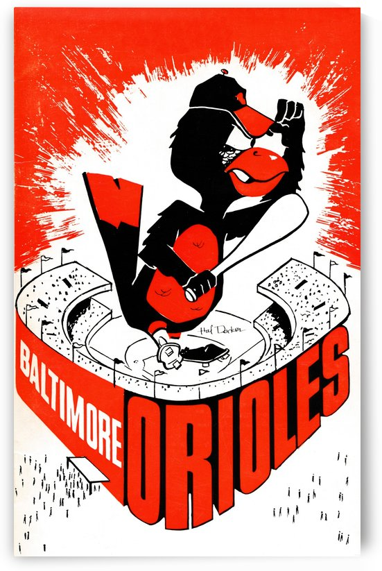 hal decker artist baltimore orioles poster by Row One Brand