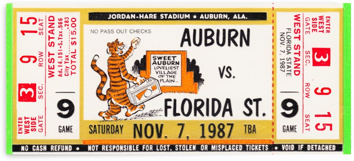 1987 Florida State vs. Auburn by Row One Brand