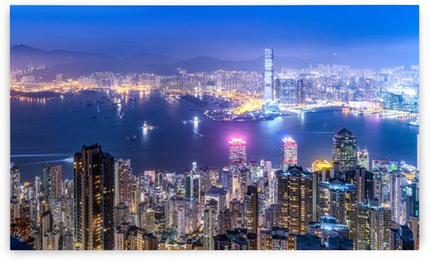 beautiful night view hong kong by Shamudy
