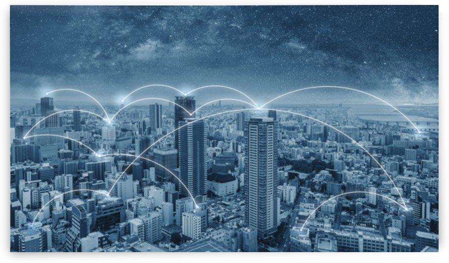 network connection technology city osaka city japan by Shamudy