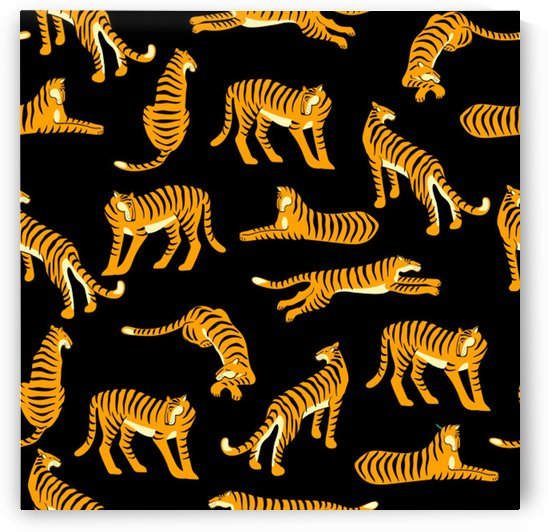 seamless exotic pattern with tigers by Shamudy