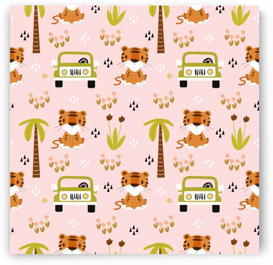 cute tiger car safari seamless pattern by Shamudy