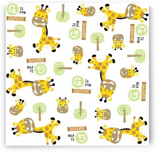vector pattern with cute giraffe cartoon by Shamudy