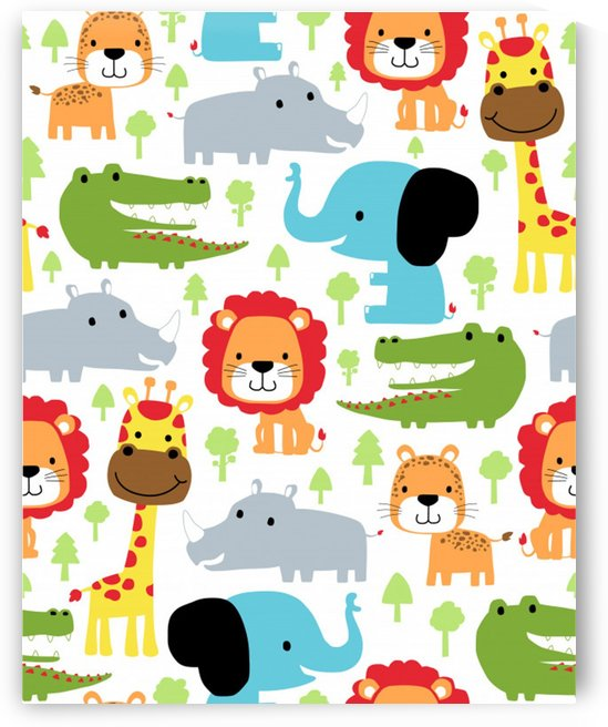 seamless pattern vector with animals cartoon by Shamudy